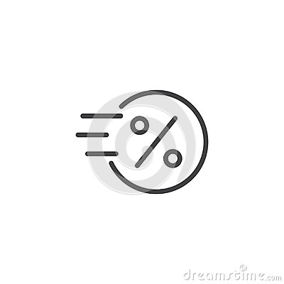 Free Fast Coin With Percent Sign Outline Icon Royalty Free Stock Image - 116056806