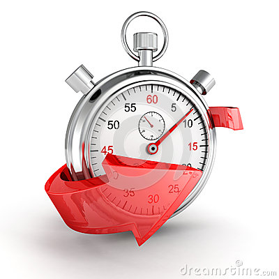 Fast delivery icon. Stopwatch with red arrow on a white background