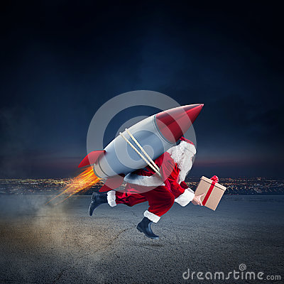 Free Fast Delivery Of Christmas Gifts Ready To Fly With A Rocket Royalty Free Stock Photography - 98611097