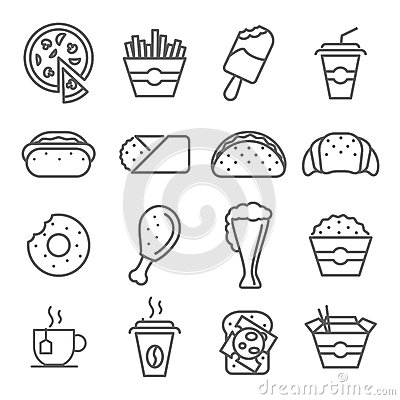 Free Fast Food Art Line Icons Royalty Free Stock Images - 60789959