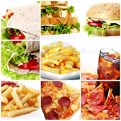 Free Fast Food Collage Stock Images - 20086394