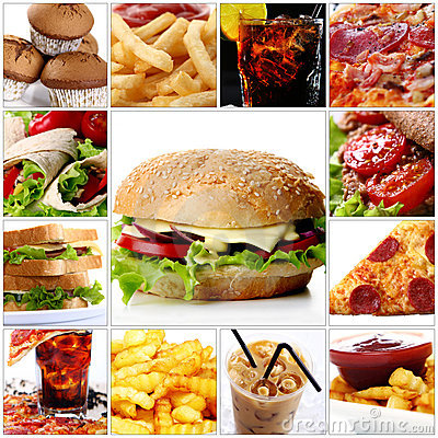 Free Fast Food Collage With Cheeseburger In Center Stock Photo - 20086300