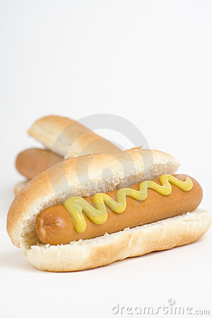 Fast food, delicious hot dog isolated over white b