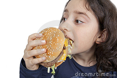 Fast food eating teen girl