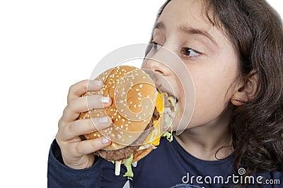 Fast food eating teen girl