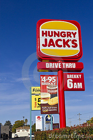 Fast Food Hungry Jacks roadside sign Editorial Photo