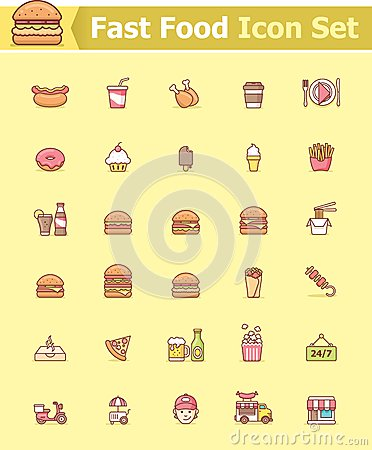Free Fast Food Icon Set Royalty Free Stock Images - 48581469