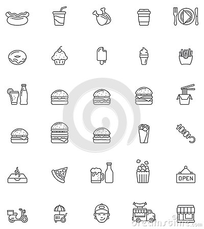 Free Fast Food Icon Set Royalty Free Stock Images - 48847799