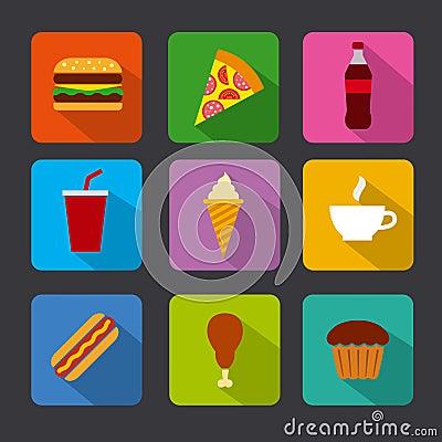 Fast food icon set Stock Photo