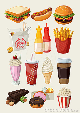 Free Fast Food Icons Royalty Free Stock Photo - 24307615