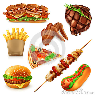 Free Fast Food Icons Royalty Free Stock Photography - 63852567
