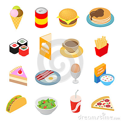 Free Fast Food Isometric 3d Icons Set Royalty Free Stock Image - 62848006