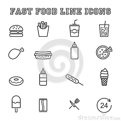 Free Fast Food Line Icons Stock Image - 50923051