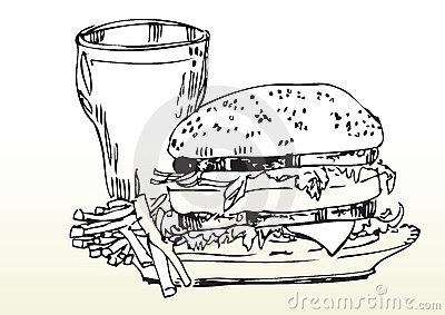 Fast food meal drawing