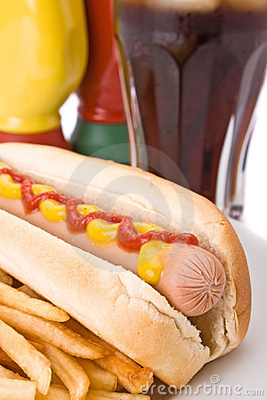 Fast food meal with hotdog