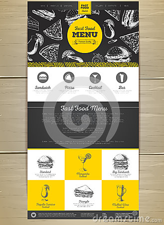Fast food menu concept Web site design. Vector Illustration