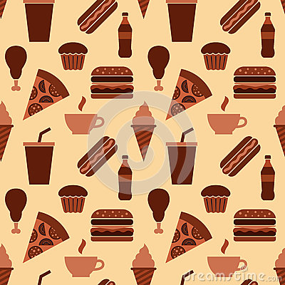 Fast food seamless pattern Vector Illustration
