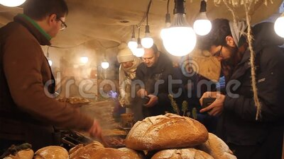 Fast food stall at the Christmas market at Rynek Glowny square in Krakow, Poland stock footage