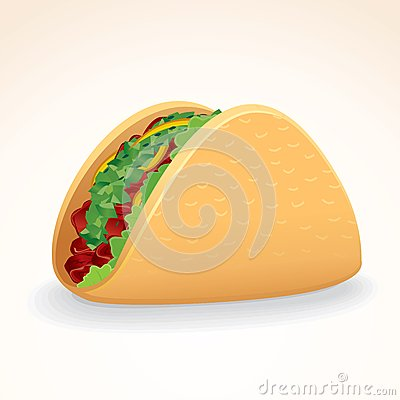 Fast Food Vector Icon. Taco with Beef & Vegetables
