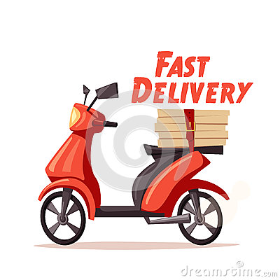 Fast and free delivery. Vector cartoon illustration. Vector Illustration