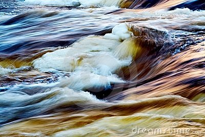 Fast icy river