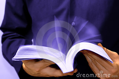 Fast learning: man reading book in motion
