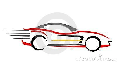 An illustration of fast moving car made with line art.