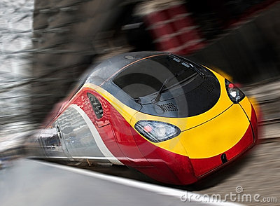 Fast Passenger Speed Train with Motion Blur