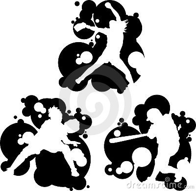 Fast Pitch Softball Players Silhouettes Vector