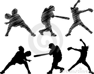 Fast Pitch Softball Silhouettes