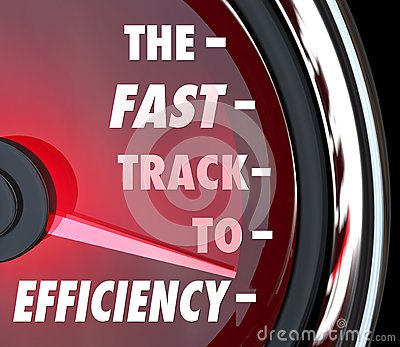 Fast Track to Efficiency Speedometer Effective Productive Improv