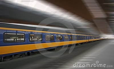 Fast train running in Holland