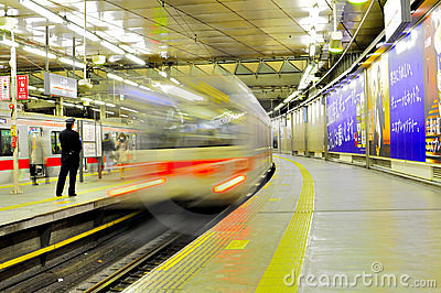 Fast train in Tokyo Station Editorial Stock Photo