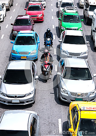 Faster way to transport on busy roads in bangkok Editorial Stock Image
