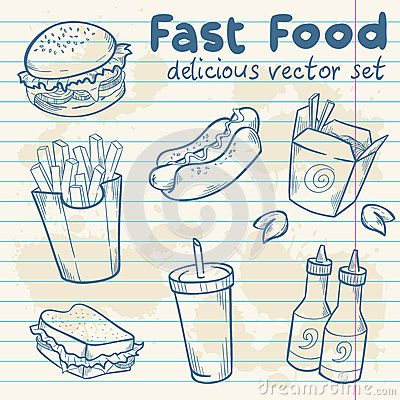 Fastfood delicious hand drawn  set