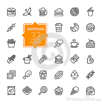 Free Fastfood - Outline Icon Collection, Vector Royalty Free Stock Photography - 89294277