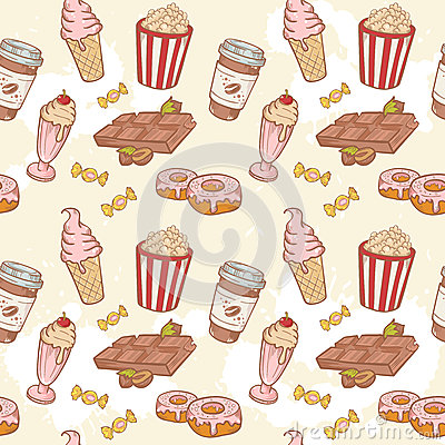 Fastfood sweets delicious hand drawn vector seamle