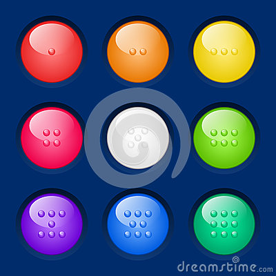 Fastställda färgrika knappar för vektor.