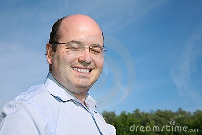 Fat bald man