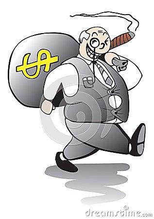 Fat Banker Walking Away With Huge Bonus