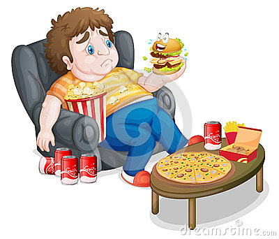 A Fat Boy Eating Royalty Free Stock Photo - Image: 33692195