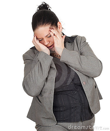 Fat businesswoman suffering from pain, headache