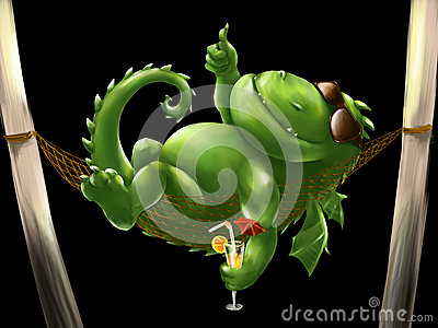 Fat dragon in a hammock