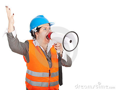 Fat female architect or engineer with megaphone
