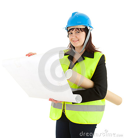 Fat female architect reading blueprints