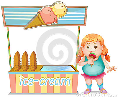A fat girl eating an ice cream beside the ice cream stand