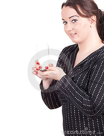 Fat girl with glass of milk