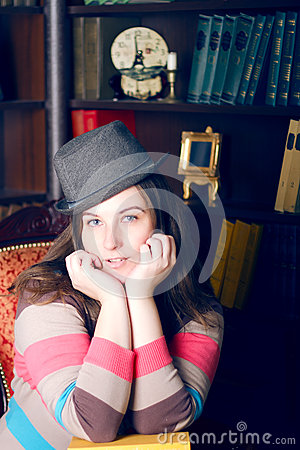 Girl in a striped sweater and hat