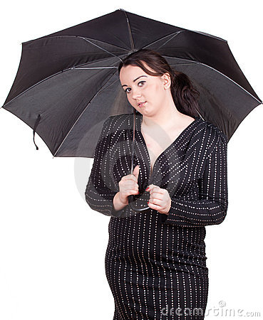 Fat girl with umbrella