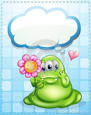 A fat green monster holding a flower with an empty callout